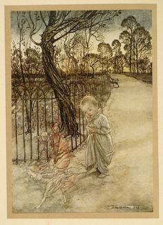 """""""Peter Pan in Kensington Gardens.Peter Pan, as a little boy in a nightgown, on the Baby Walk in Kensington Gardens with two fairies fleeing from him while the Elderberry and Elm trees and the other fairies look on … Illustration by Arthur Rackham from a rare 1912 Deluxe Edition of J. M. Barrie's Peter Pan"""""""