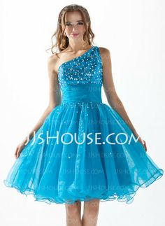 Homecoming Dresses - $128.99 - A-Line/Princess One-Shoulder Knee-Length Organza Sequined Homecoming Dress With Ruffle Beading (022010575) http://jjshouse.com/A-Line-Princess-One-Shoulder-Knee-Length-Organza-Sequined-Homecoming-Dress-With-Ruffle-Beading-022010575-g10575