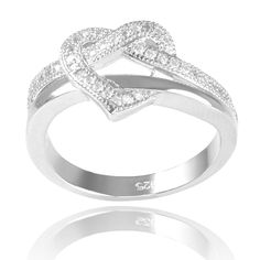 Journee Collection Sterling Silver Cubic Zirconia Heart Ring (Silver, 8), Women's