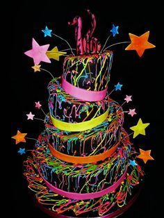glow in the dark themed sweet 16 cake. maybe I should have a rave themed sweet 16 Neon Birthday, Sweet 16 Birthday, Birthday Parties, 13th Birthday, Birthday Cakes, Birthday Ideas, 16th Birthday Cake For Girls, Birthday Toast, Cake Girls