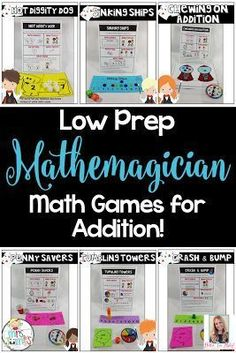 Make math fun and engaging by using these easy to prep math games! Great for teaching and practicing addition in the primary grades! Math Board Games, Fun Math Games, Dice Games, Addition Games, Addition And Subtraction, Math Addition, Math Stations, Math Centers, Science Videos For Kids