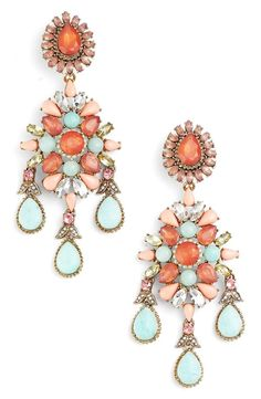 Pairing these coral and turquoise chandelier earrings this a gorgeous dress for a romantic vibe - via @nordstrom #nordstrom #ad