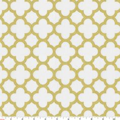 White And Gold Metallic Quatrefoil Fabric By Carousel Designs