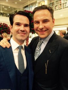 Bromance: David Walliams posted this snap of himself and Jimmy Carr writing: 'Now we can get married too #sharethelove'