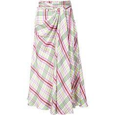 Prabal Gurung plaid tie front skirt ($1,395) ❤ liked on Polyvore featuring skirts, tartan plaid skirt, prabal gurung, white silk skirt, plaid skirt and multicolor skirt