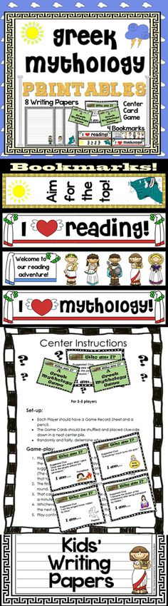 Greek Mythology Printables... kids' creative writing stationary, bookmarks and daily center game. Nice add-on for a mythology or ancient civilizations unit.