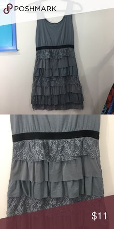 Short gray party dress with ruffles Fun comfy little dancing dress. Too short for this mama now :) Xhilaration Dresses Mini