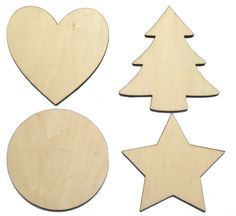 2 photo of 12 for christmas wooden craft shapes