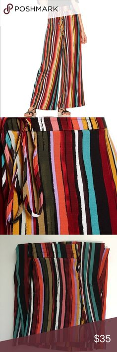 """Free People XS Multi Color Striped Drawstring Pant Free People XS  Multicolored Striped Drawstring Pant  Waist: 12"""" Inseam: 28"""" Feel free to ask questions  Items ship same or next day  Thank you for shopping by Free People Pants Wide Leg"""