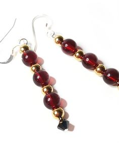 Red and Gold Regal Earrings Online Boutiques, Handcrafted Jewelry, Jewelry Design, Charmed, Drop Earrings, Elegant, Sweet, Red, Classy