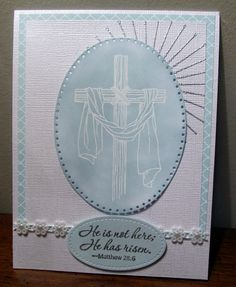 Emboss resist with Stampin Up's Easter Message stamp set and Soft sky papers and ink.