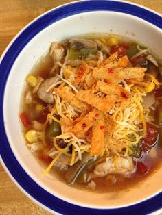 Southwest Chicken Tortilla Soup: Chicken breast, whole kernel corn, diced tomatoes, chicken broth, onion, bell pepper, mushrooms, garlic, chili powder, sumin, salt & pepper, shredded cheese, tortillia strips...can kick it up with serrano peppers or green chilies ----Mmmm will try this out