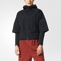 The adidas Z.N.E. collection was designed to provide premium comfort for athletes as they go from the street to the game. Visualize your best performance in this women's hoodie, made of two-layer bonded woven fabric and lined with mesh. The full-zip hoodie has a modern boxy silhouette with three-quarter sleeves and hidden zip pockets, and features inspirational quotes in multiple languages printed on the inside.