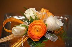 Trigs Floral - Flower Gallery wristlet with white roses and orange ranunculus