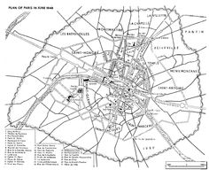 Plan of Paris, June with the location of the barricades. Paris Pictures, French Revolution, Google Images, 19th Century, War, France, How To Plan, History, City
