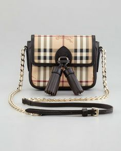 Burberry Haymarket Check Mini Chain Crossbody Bag on shopstyle.com