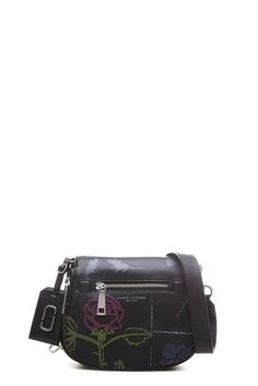 9f2326caf457a The Marc Jacobs Tabboo! Flower Leather Small Saddle Bag features a custom  panel…