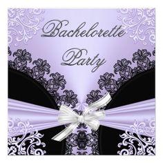 Bachelorette Party Lilac Purple Black Lace 23 Personalized Invite