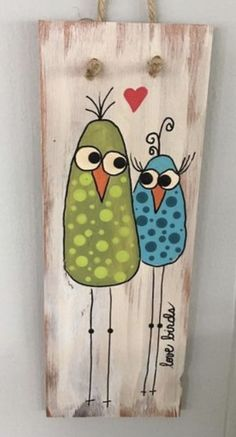 Wood Block Crafts, Wood Crafts, Painting For Kids, Painting On Wood, Painted Signs, Painted Rocks, Bible Doodling, Chicken Painting, Nature Crafts