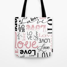 Tote Bag by Francesco Salerno #shop #shopping #accessories #design #gift #giftideas #art #popstyle #buyart #coolaccessories #moda #style #fashion #totebag #bags #pop #popart #love #words #black #pink #text #urban #francescosalerno #apparel