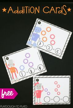 Robot Addition Cards - Playdough To Plato Write and wipe addition cards! Fun math center or STEM box Math Activities For Kids, Preschool Math, Math For Kids, Fun Math, Teaching Math, Play Activity, Therapy Activities, Teaching Ideas, Kindergarten Centers
