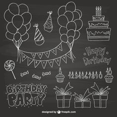 Discover the best free resources of Happy Birthday - chalkboard Chalkboard Wall Art, Chalkboard Doodles, Chalkboard Lettering, Chalkboard Designs, Chalkboard Drawings, Birthday Card Drawing, Birthday Cards, Art Birthday, Album Photo Scrapbooking