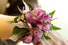 Purple alstro and wax flower