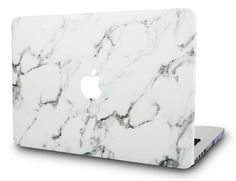 Macbook Case | Leather Collection - White Marble Leather