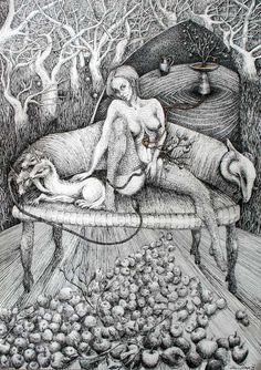 "Saatchi Online Artist: Marzena Ablewska- Lech; Pen and Ink, Drawing ""The orchard [Eleusinian Mysteries]"""