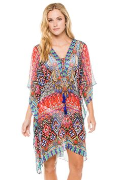 Tribal Ikat short caftan with beaded v-neck and lace-up tassel tie.