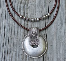 Silver Tribal Pendant Necklace Hip Leather Necklace by amyfine, $49.00