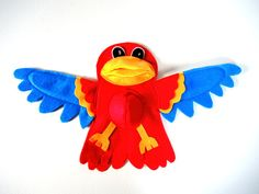 Parrot Hand Puppet Blue Red Yellow Kids Toy Bird Eco Friendly Eco-fi Felt Childs Animal by InJoyEcoCutie