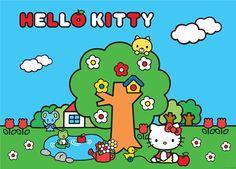 Fotomural Hello Kitty FTM 0854, imagen en colores llamativos de la Hello Kitty jugando en el exterior, junto a un manzano y a un pequeño embalse.