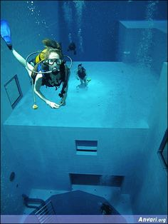 World's deepest swimming pool. Nemo 33 takes the title of deepest swimming pool in the world. A recreational diving center in Brussels, Belgium, Nemo 33 is equipped with five levels spanning over a 100 feet. The pools require around 2.5 million liters of water to fill.