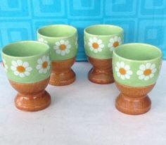 4 Vintage Egg Cups Wood Ceramic Daisies Daisy Flower Folk Art Easter Is Near