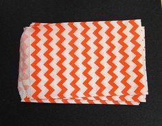 10 Orange Chevron Paper Gift Bags (Medium 5 x 7.5)