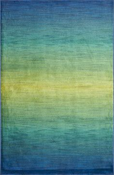 The gradual shift from deep blue to lime green creates the same calming feeling as ocean waves or a rippling stream.  Using a unique space-dyeing technique, the Madeline Collection rugs are like watercolor paintings for your floor!