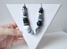 Monochrome Chunky Necklace Polymer clay necklace by UrbanCatStudio