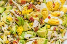 This Avocado Chicken Salad recipe is a keeper! Easy, excellent chicken salad with lemon dressing, plenty of avocado, irresistible bites of bacon and corn. No cooking required for this healthy Chicken Cucumber Avocado Salad. Avocado Chicken Salad, Chicken Salad Recipes, Egg Salad, Best Avocado Recipes, Healthy Recipes, Healthy Salads, Delicious Recipes, How To Cook Chicken, Cooked Chicken