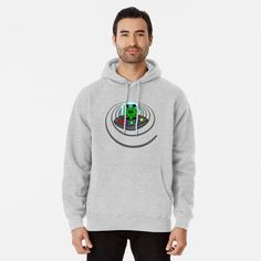 FASHION#CC Mens Pullover Hoodie Fleece with Pockets Trippy Alien