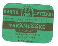 Karhu Apteekki Tampere- Yskänlääke apteekkietiketti (#522918) - Antikvariaatti.net