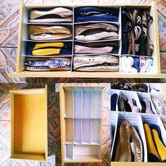 Finalmente consegui arrumar minha gaveta de sapatos... Usei papelão e papel contatec branco. É um resultado incrível.... Da um super trabalho, mas vale apena.  Eu amo tudo organizado. Assim fica mais fácil de guardar tudo.