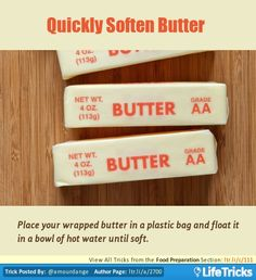 Food Preparation - Quickly Soften Butter