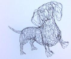 3D Dachshund Wire Sculpture by Elizabeth Berrien