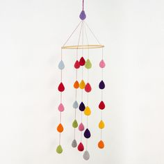 Colorful Crochet Rain Drops Mobile - Baby Mobile - Nursery Mobile - Crib Mobile - Crochet Mobile - Nursery Decor - READY TO SHIP. $65.00, via Etsy. - For above the dresser