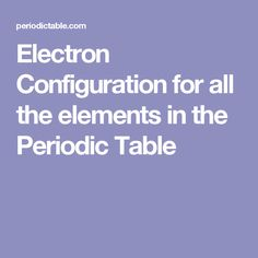 Look Up The Electron Configuration Of Any Element Using This Handy Chart.  The Chart Lists Elements In Order Of Atomic Number.