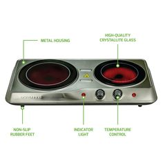 Ovente Countertop Burner Infrared Ceramic Gl Double Plate Cooktop Indoor And Outdoor Portable Stove 1700 Watts Bgi102 Kitchen Dining