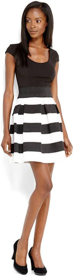 TEEZE ME Black White Stripe Textured Fit Flare Dress