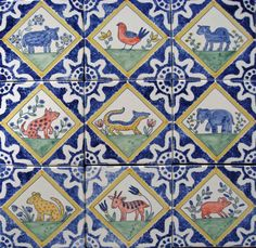 Medieval animal tiles by Carlo Briscoe