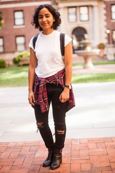 College Street Style Showdown: NYU Vs. Columbia #refinery29  Name: Pricila Castillo Campus: Columbia What She's Wearing: American Apparel shirt, OAK pants, and an Urban Outfitters watch.